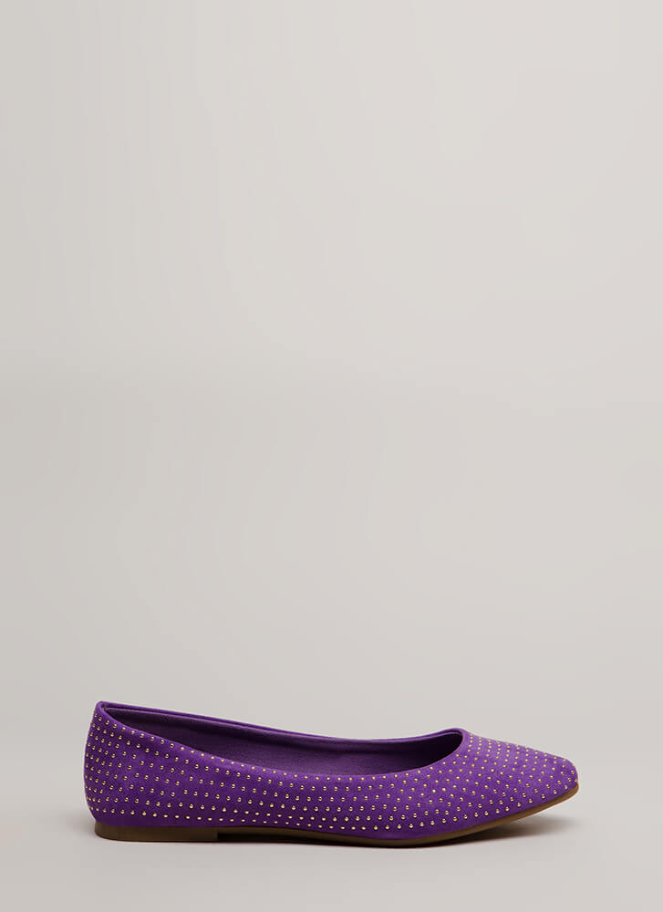 Dot The Eyes Studded Pointy Flats PURPLE
