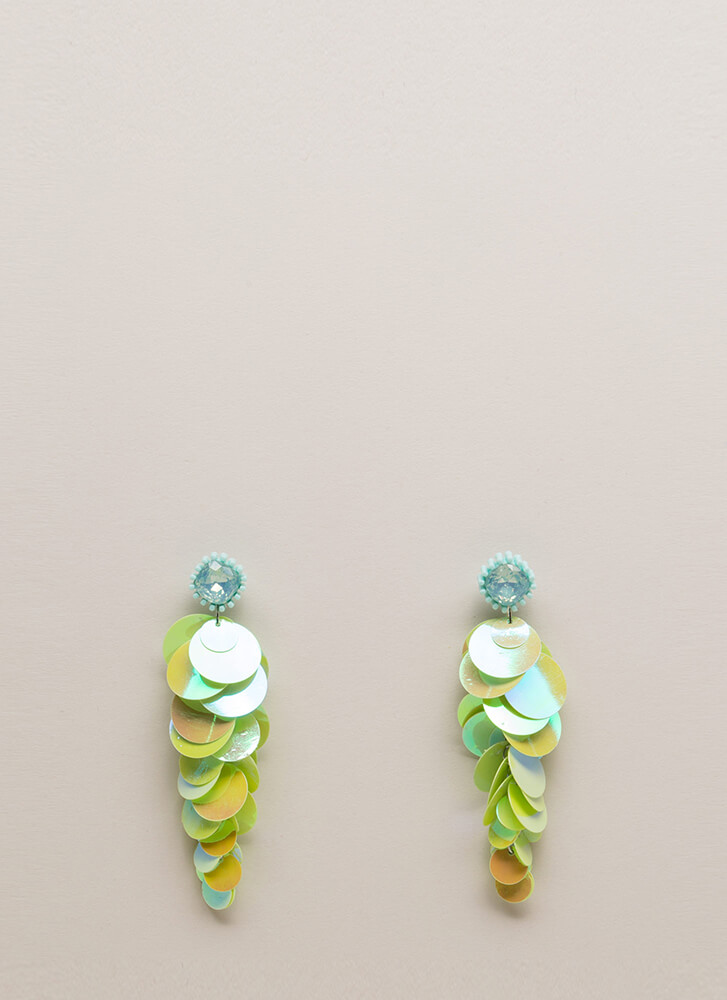 Sequin Statement Jeweled Disc Earrings GREEN