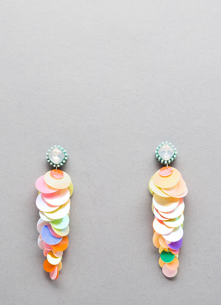 Sequin Statement Jeweled Disc Earrings MULTI