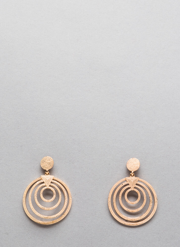 Saturn's Rings Round Studded Earrings GOLD