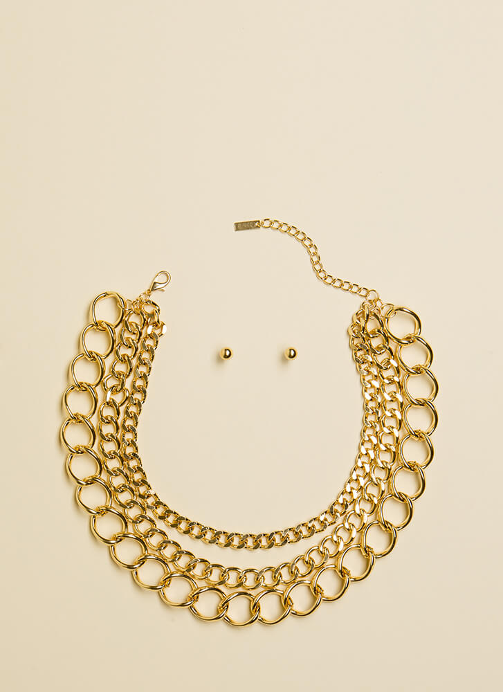 Link Of Me Fondly Chain Choker Set GOLD