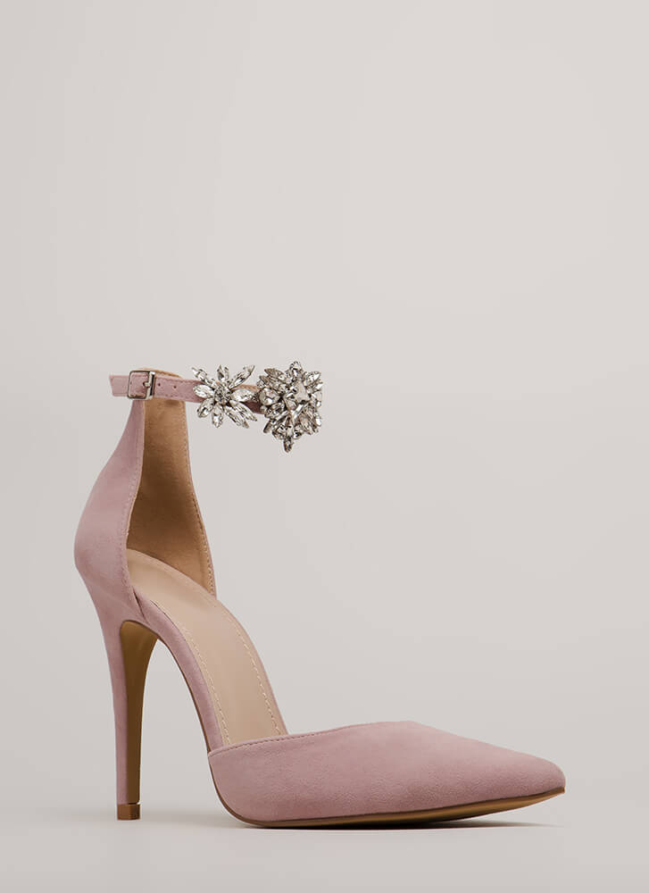 Bling Me Flowers Pointy Jeweled Heels DUSTYPINK