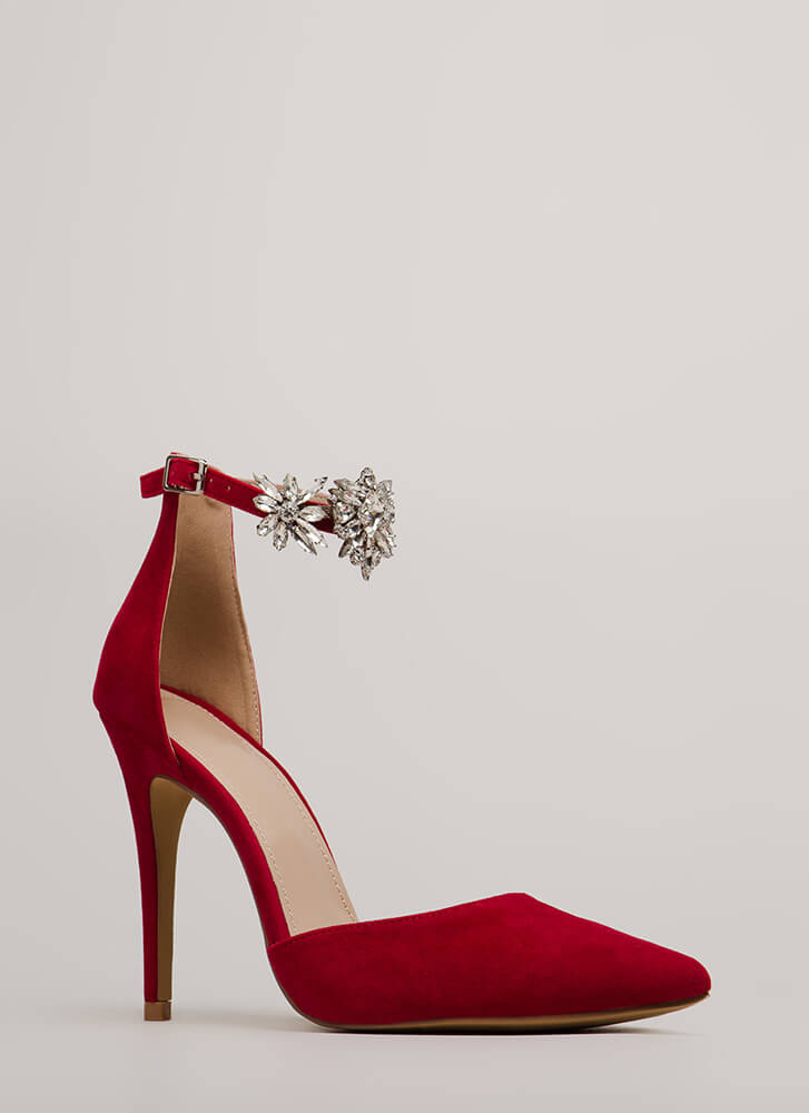 Bling Me Flowers Pointy Jeweled Heels RED