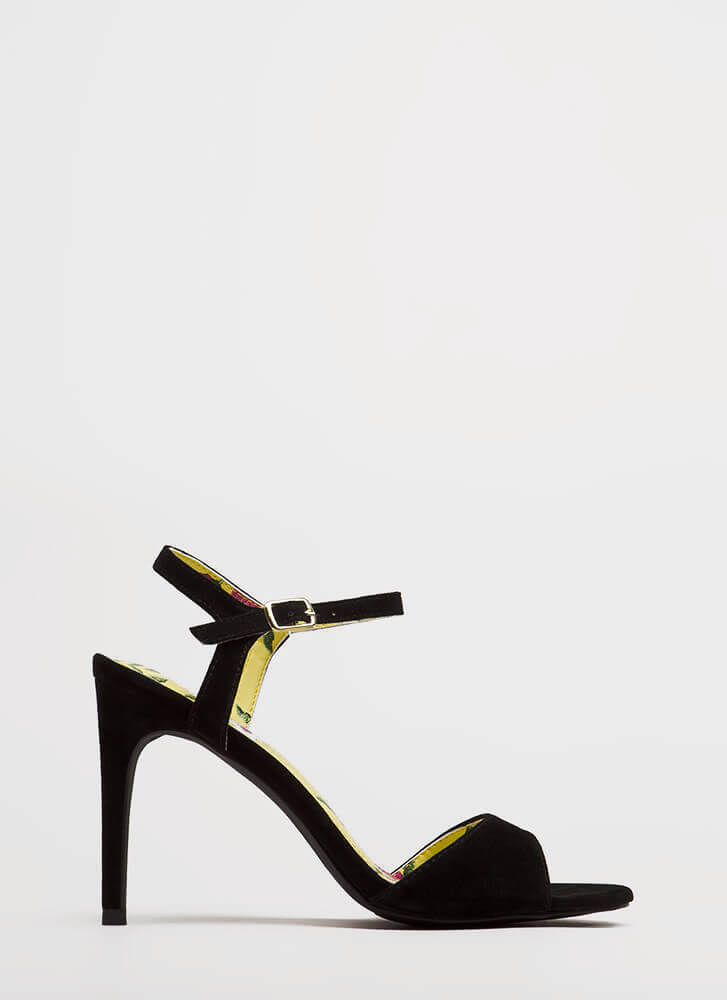 Count On Me Strappy Velvet Heels BLACK