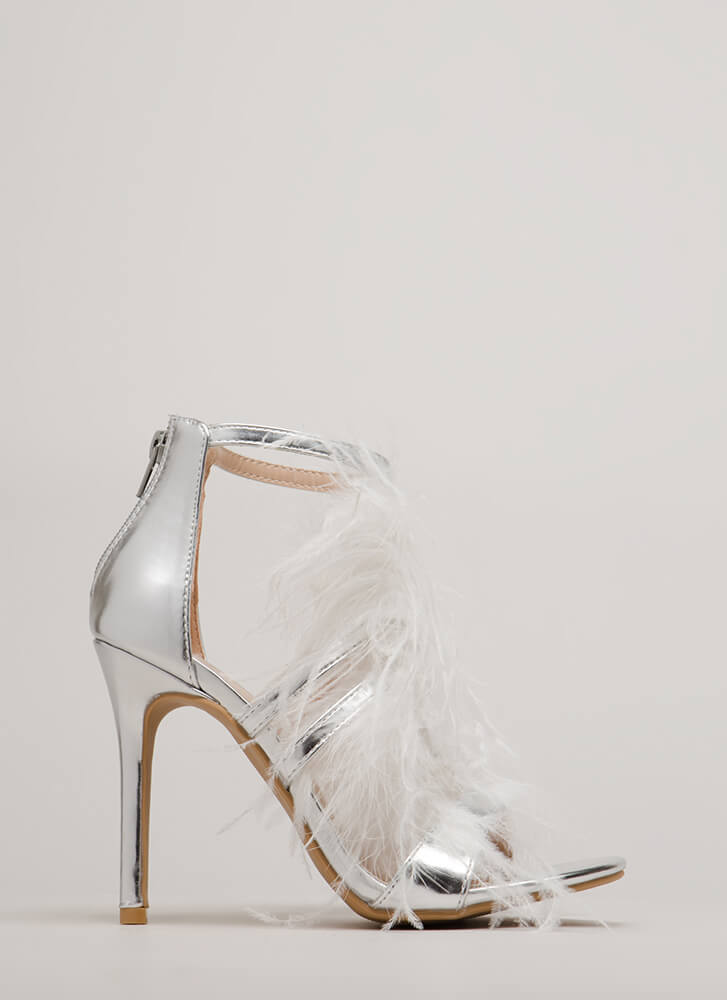 Wisp Me Off My Feet Feathered Heels SILVER (Final Sale)