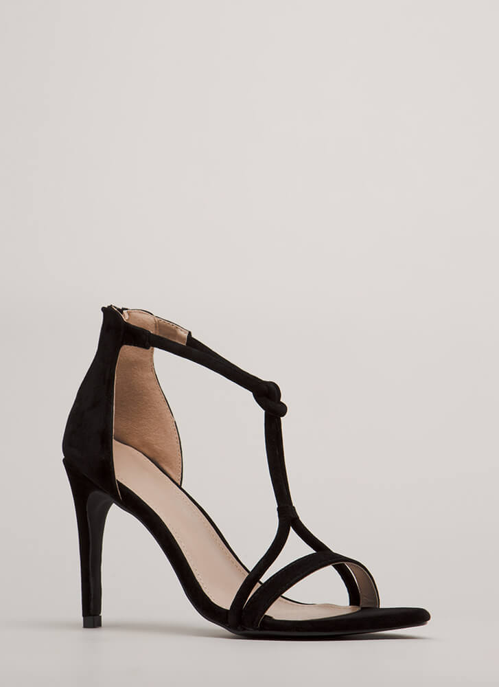 Thrown For A Loop Faux Suede Heels BLACK (You Saved $23)