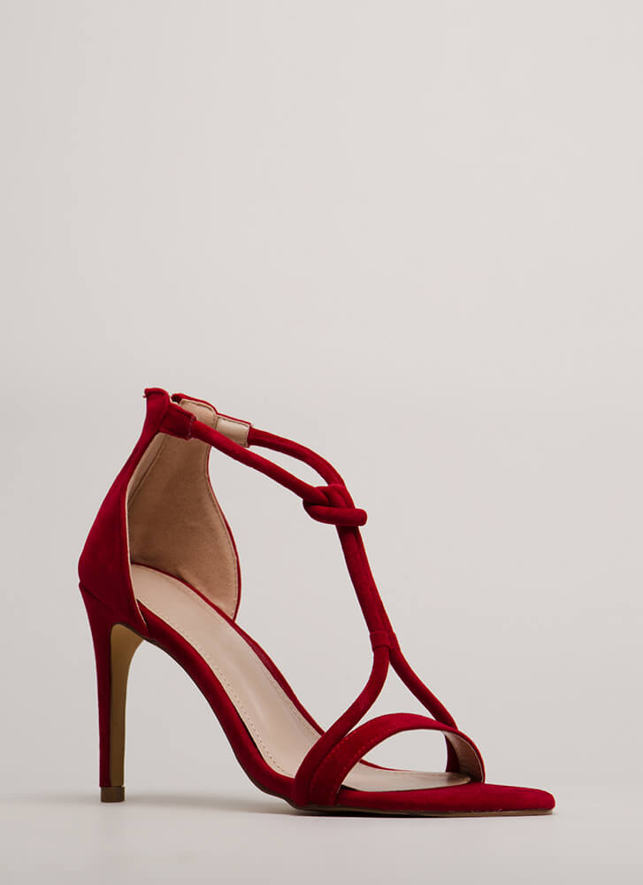 Thrown For A Loop Faux Suede Heels RED (You Saved $23)