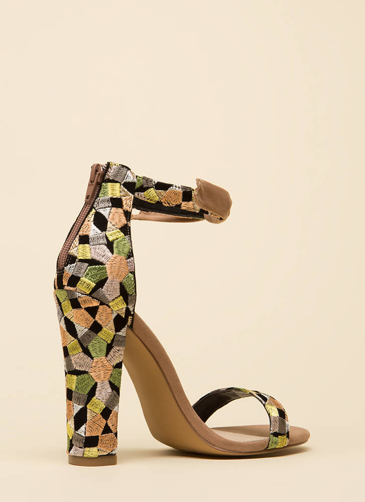 Kaleidoscope Embroidered Chunky Heels YELLOW