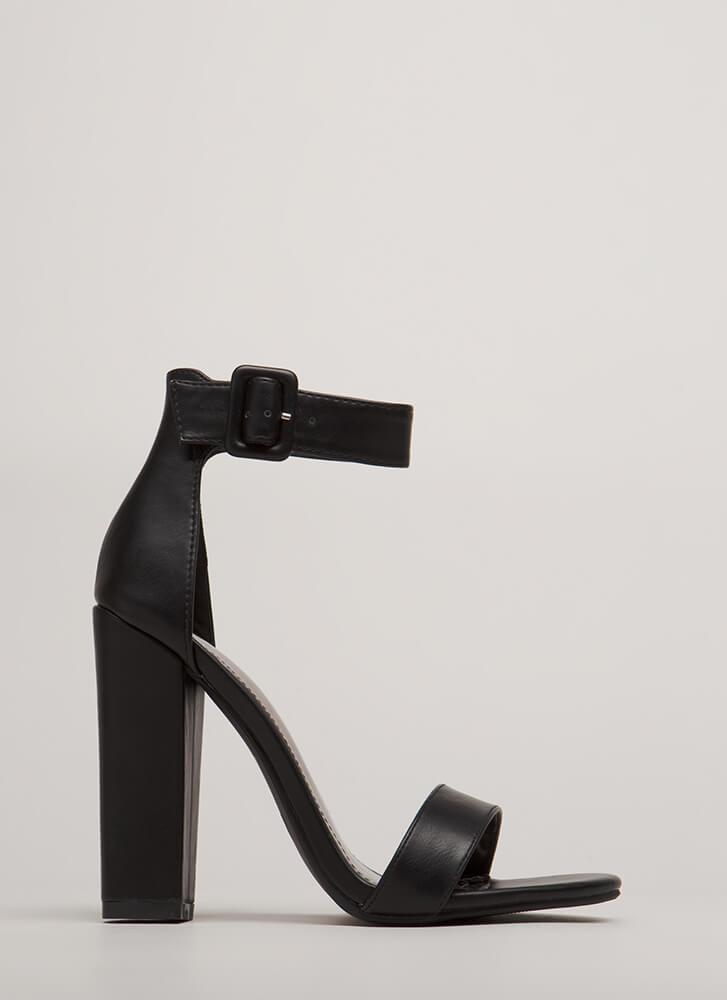I Want It All Chunky Ankle Strap Heels BLACK