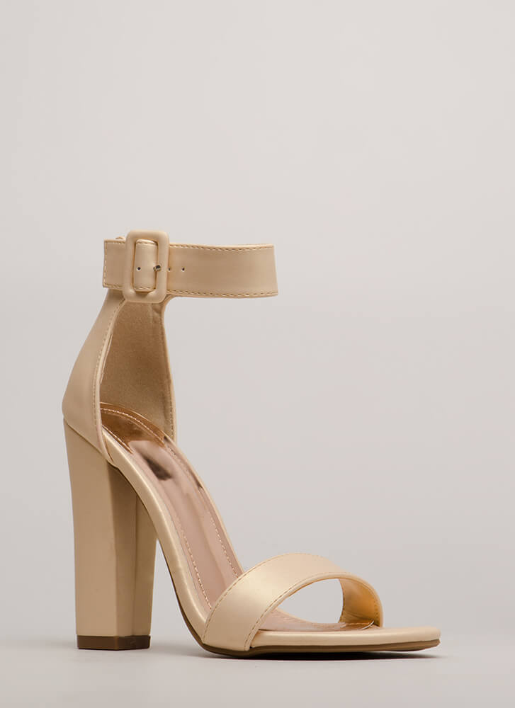 I Want It All Chunky Ankle Strap Heels NUDE