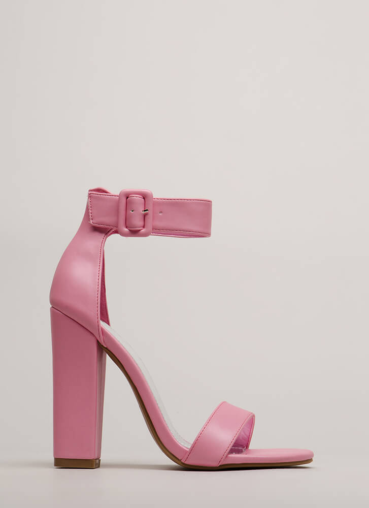 I Want It All Chunky Ankle Strap Heels PINK