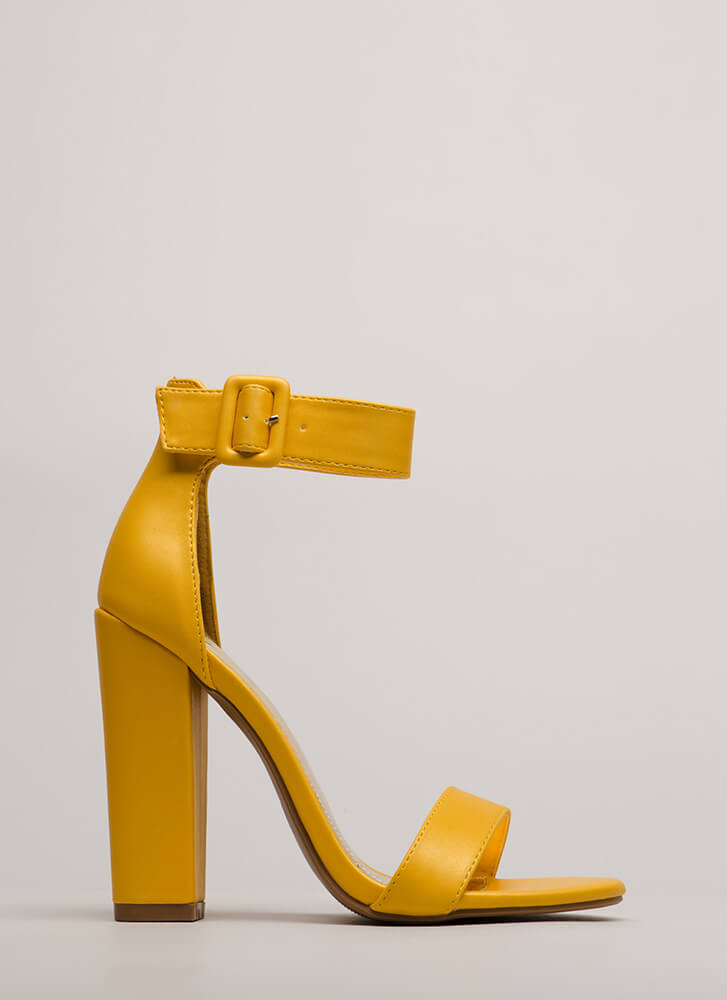 I Want It All Chunky Ankle Strap Heels YELLOW