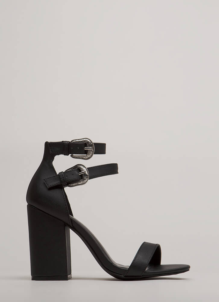 Double Time Chunky Buckled Heels BLACK