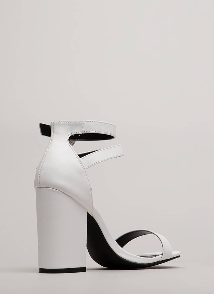 Double Time Chunky Buckled Heels WHITE