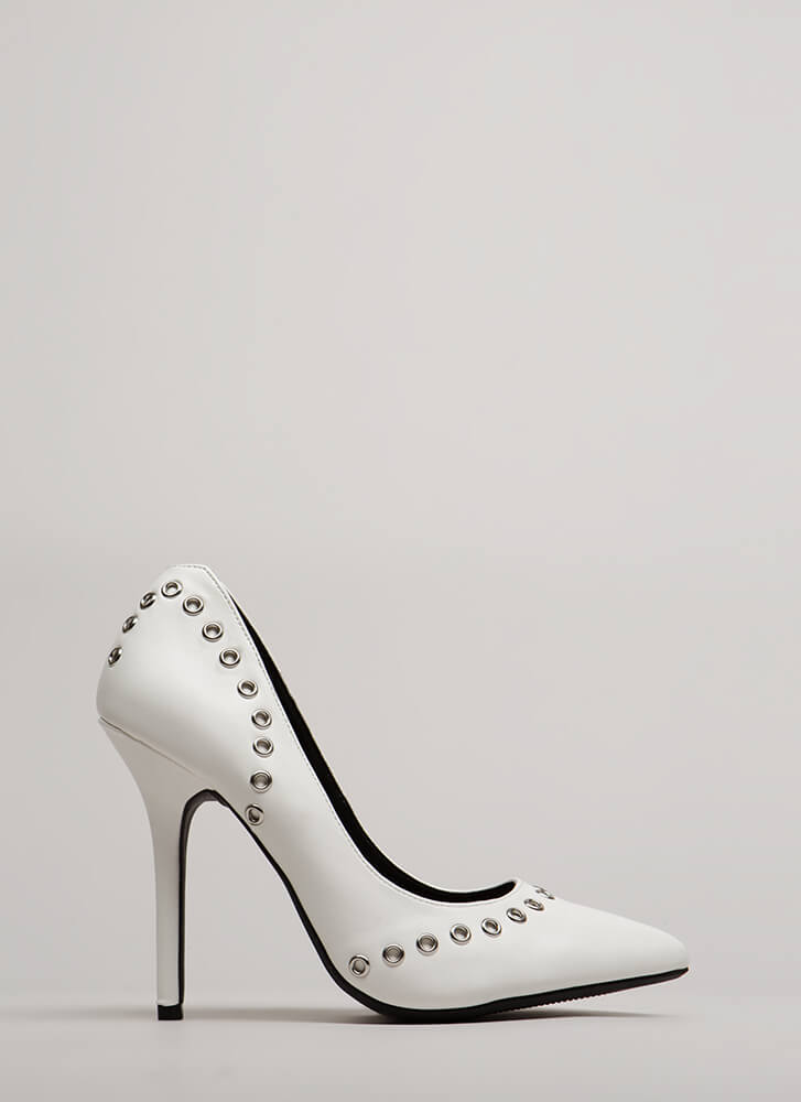 Hot Hardware Pointy Grommet Pumps WHITE