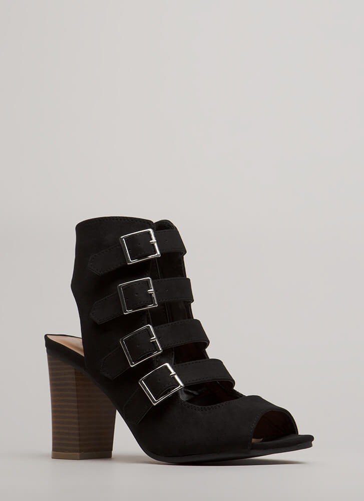 Four Ever Chunky Buckled Heels BLACK