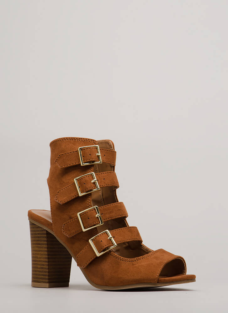 Four Ever Chunky Buckled Heels COGNAC