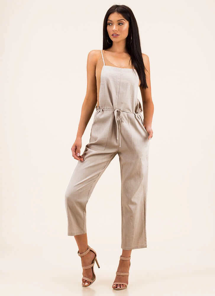 Today's Girl Linen Overall Jumpsuit by Go Jane