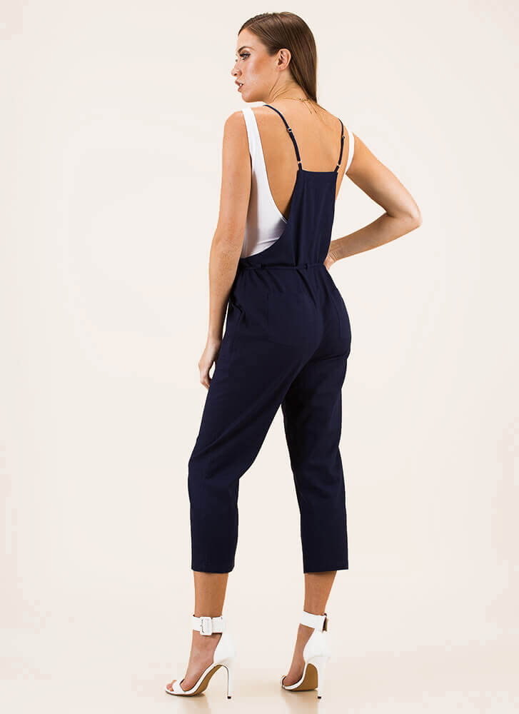 Today's Girl Linen Overall Jumpsuit NAVY