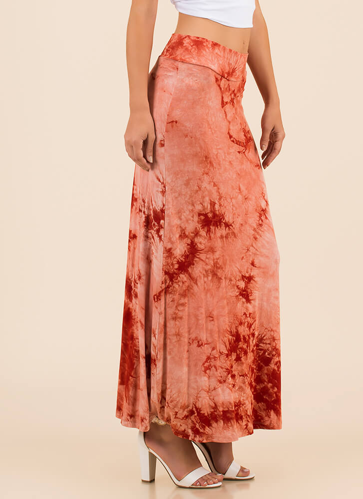 Beach Outing Tie-Dye Maxi Skirt BRICK