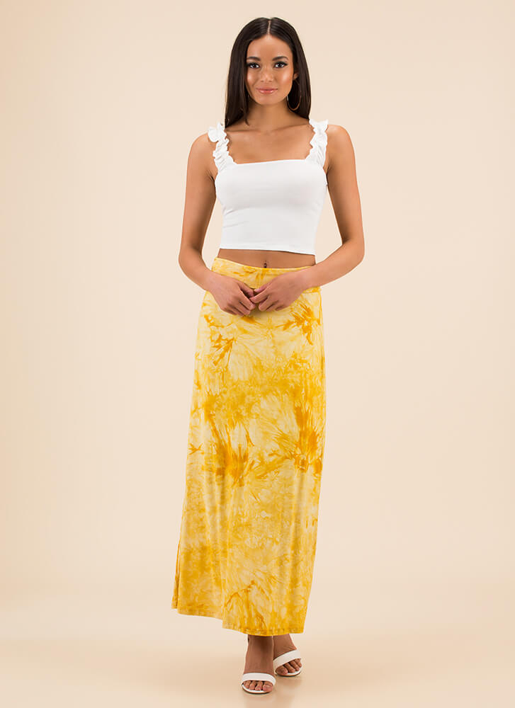 Beach Outing Tie-Dye Maxi Skirt MUSTARD