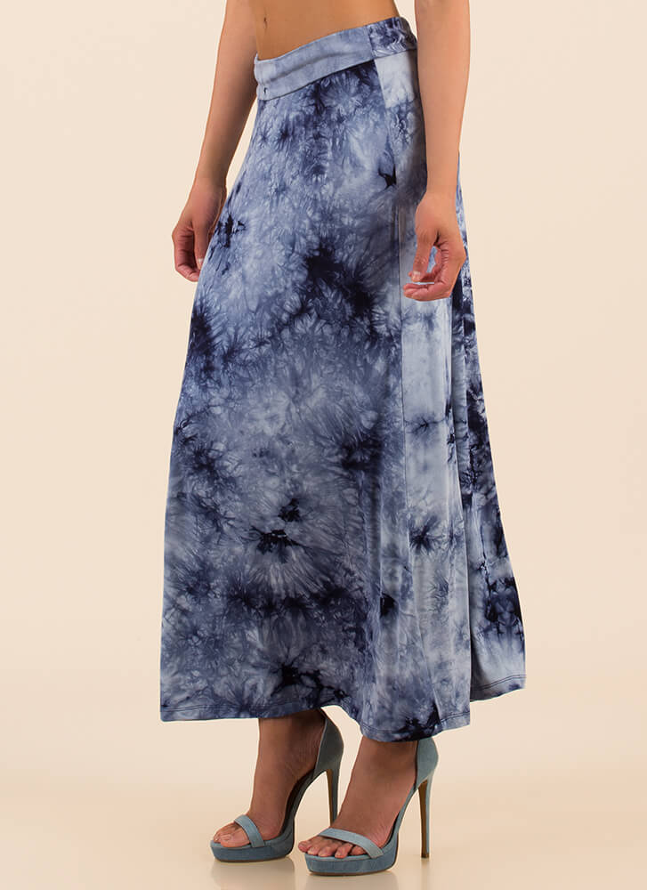 Beach Outing Tie-Dye Maxi Skirt NAVY