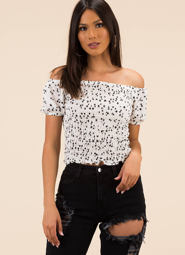 Star Gazing Smocked Off-Shoulder Top WHITE