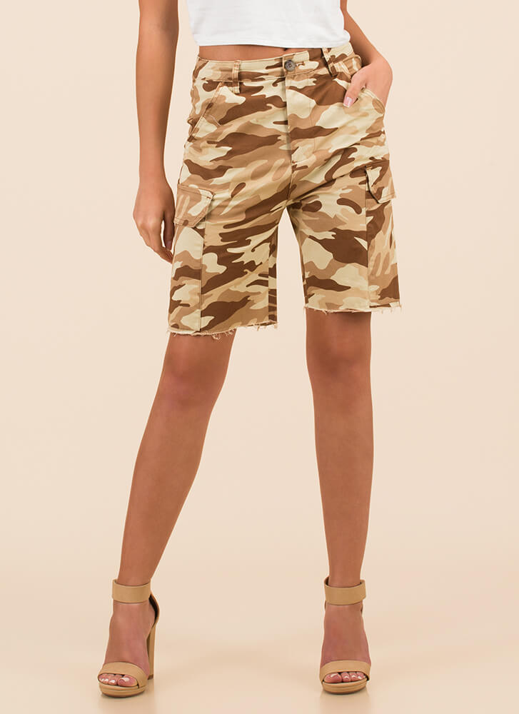 Surrender Now Camo Cargo Shorts TAUPE