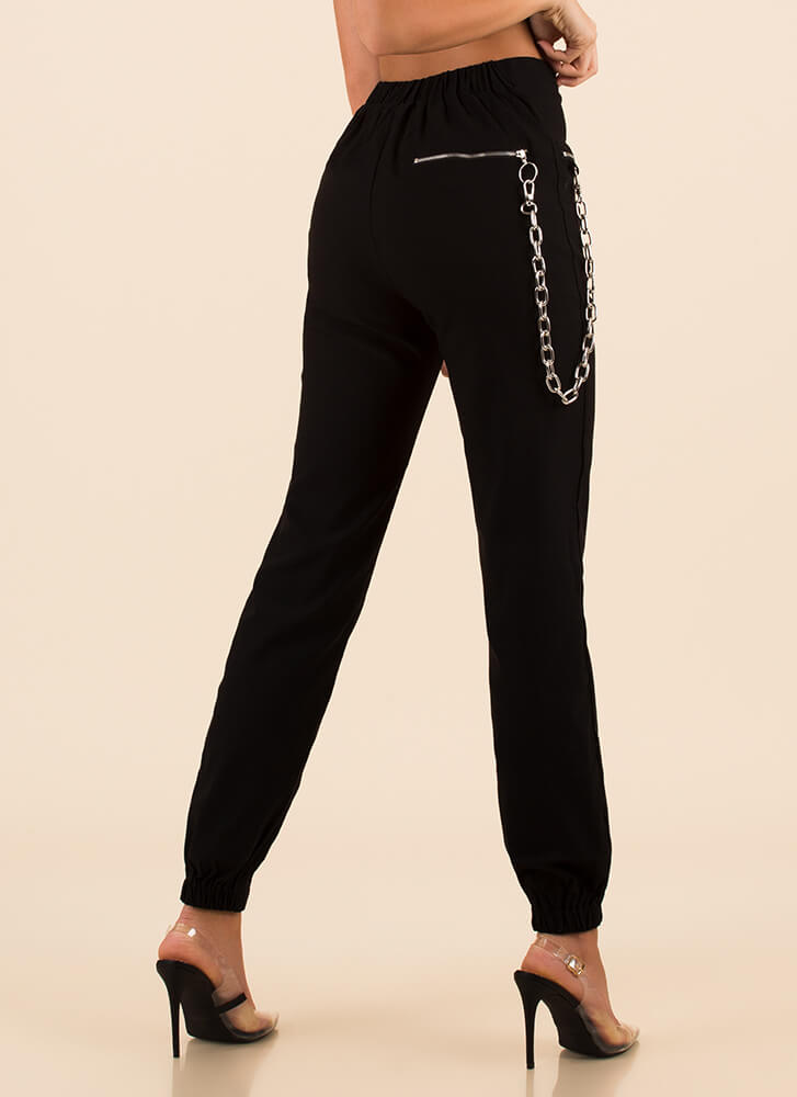 Hot Hardware Chain Accent Zipper Joggers BLACK