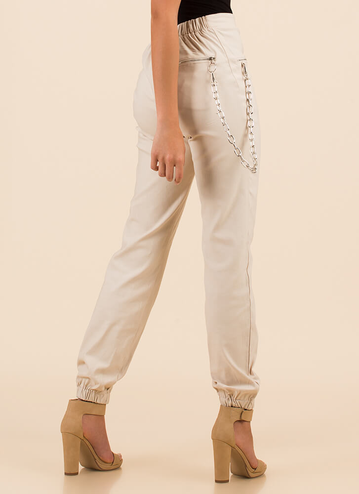 Hot Hardware Chain Accent Zipper Joggers TAUPE