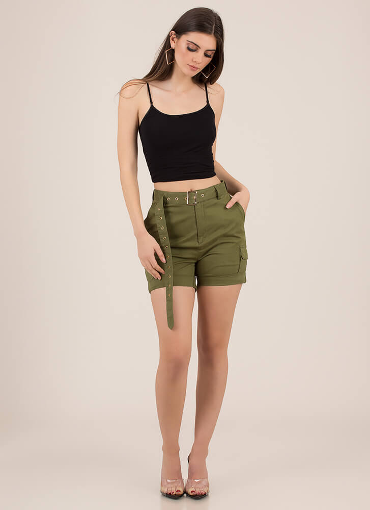 Concrete Jungle Belted Cargo Shorts OLIVE