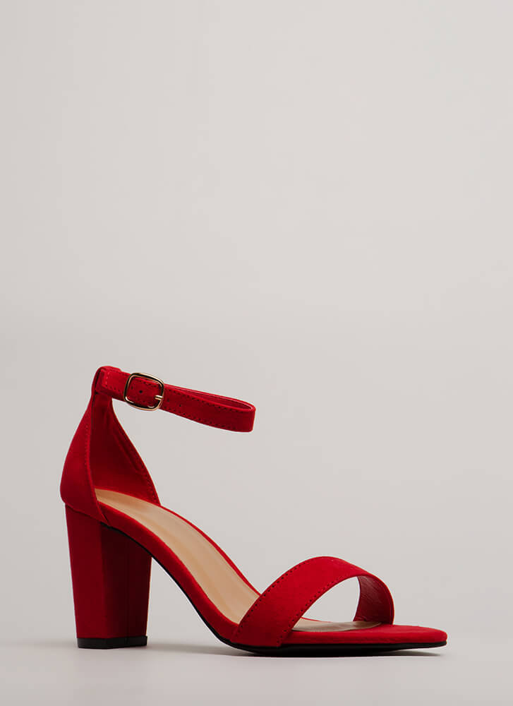 Simply Striking Chunky Faux Suede Heels RED