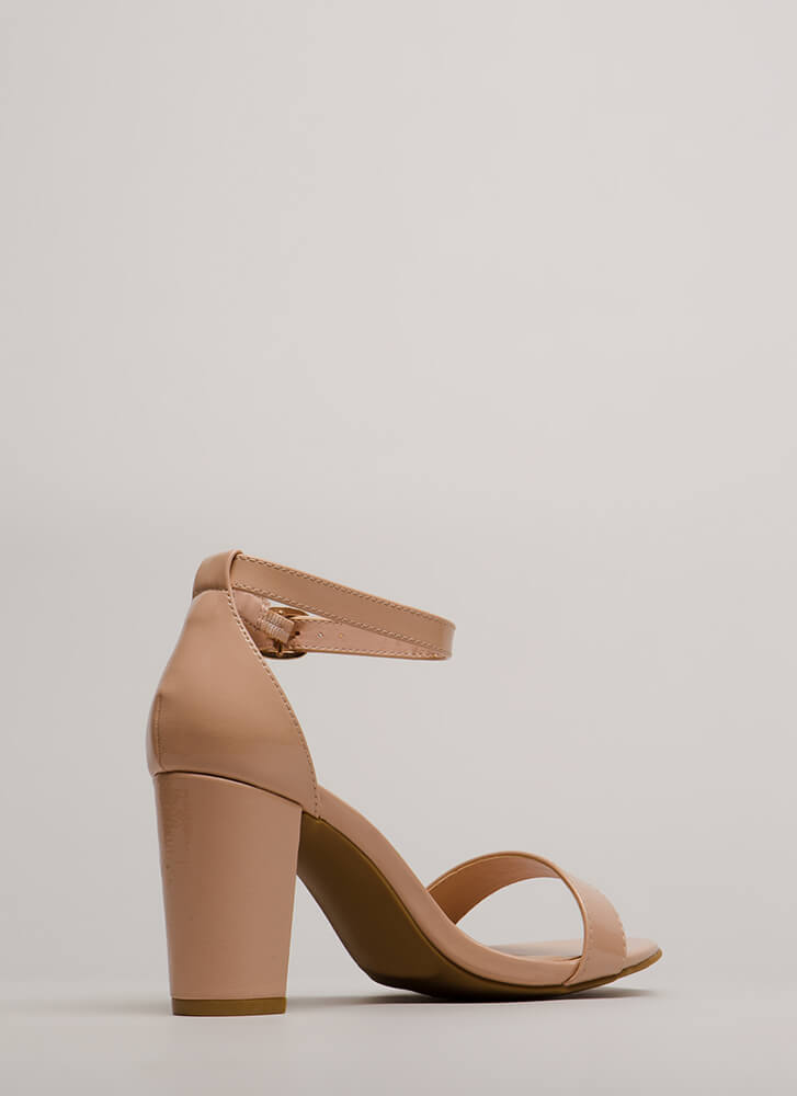 Simply Striking Chunky Faux Patent Heels NUDE