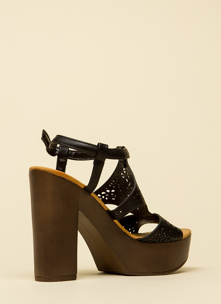 Beautiful Day Chunky Cut-Out Platforms BLACK