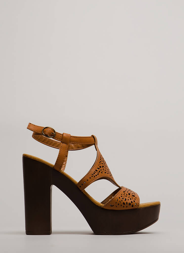 Beautiful Day Chunky Cut-Out Platforms TAN