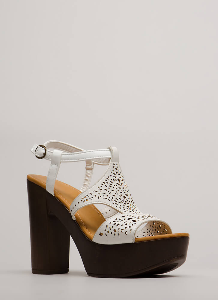 Beautiful Day Chunky Cut-Out Platforms WHITE
