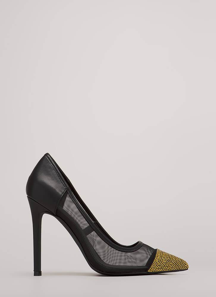 Twinkle Toes Jeweled Pointy Mesh Pumps BLACK
