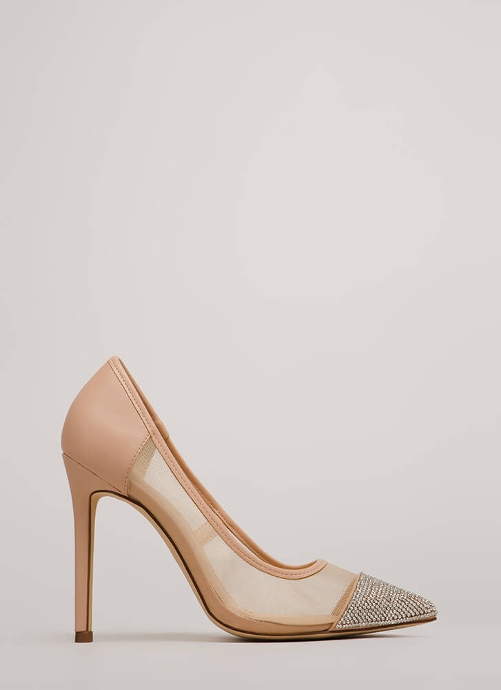 Twinkle Toes Jeweled Pointy Mesh Pumps NUDE