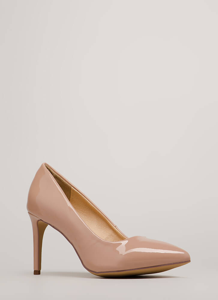 Short Supply Pointy Faux Patent Pumps NUDE