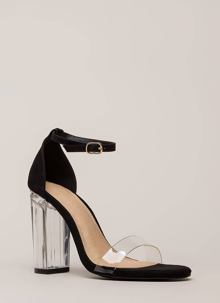 Clearly Amazing Chunky Lucite Heels by Go Jane