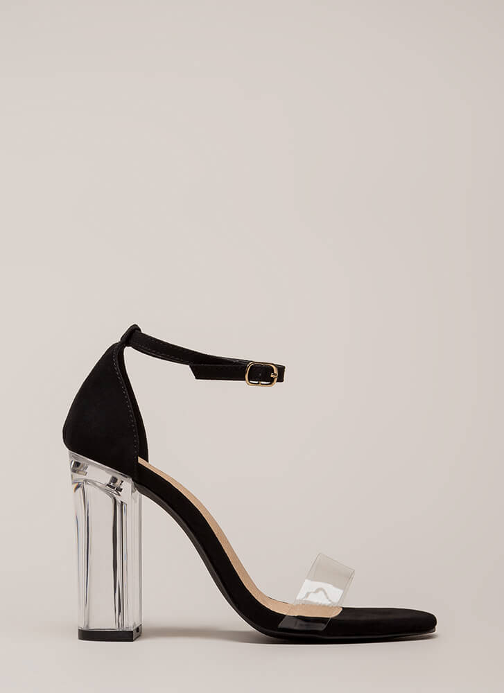 Clearly Amazing Chunky Lucite Heels BLACK