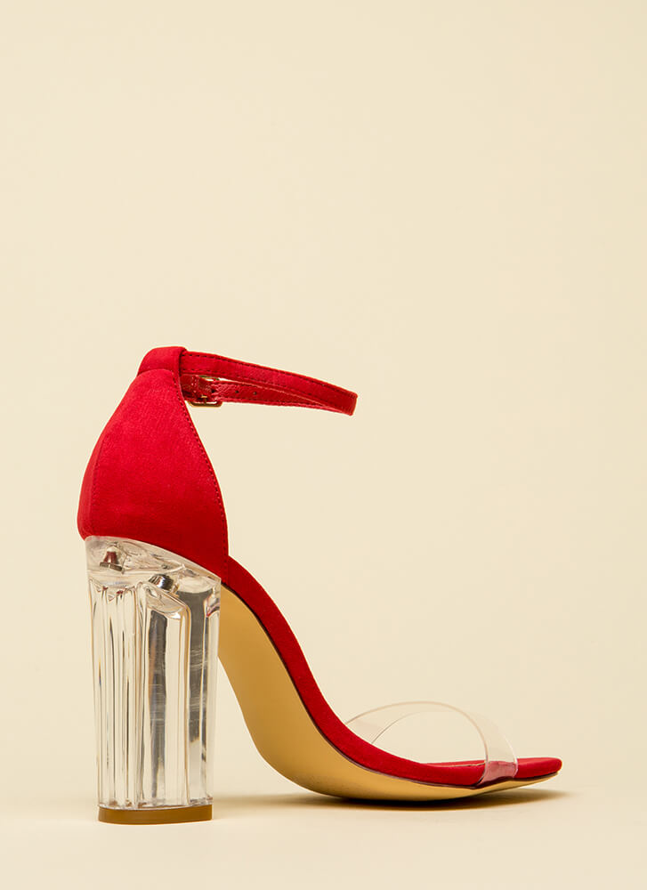 Clearly Amazing Chunky Lucite Heels RED