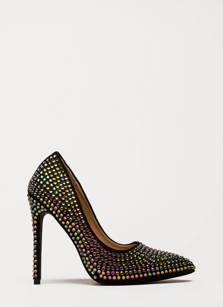 Super Sparkle Pointy Faux Gem Pumps BLACK