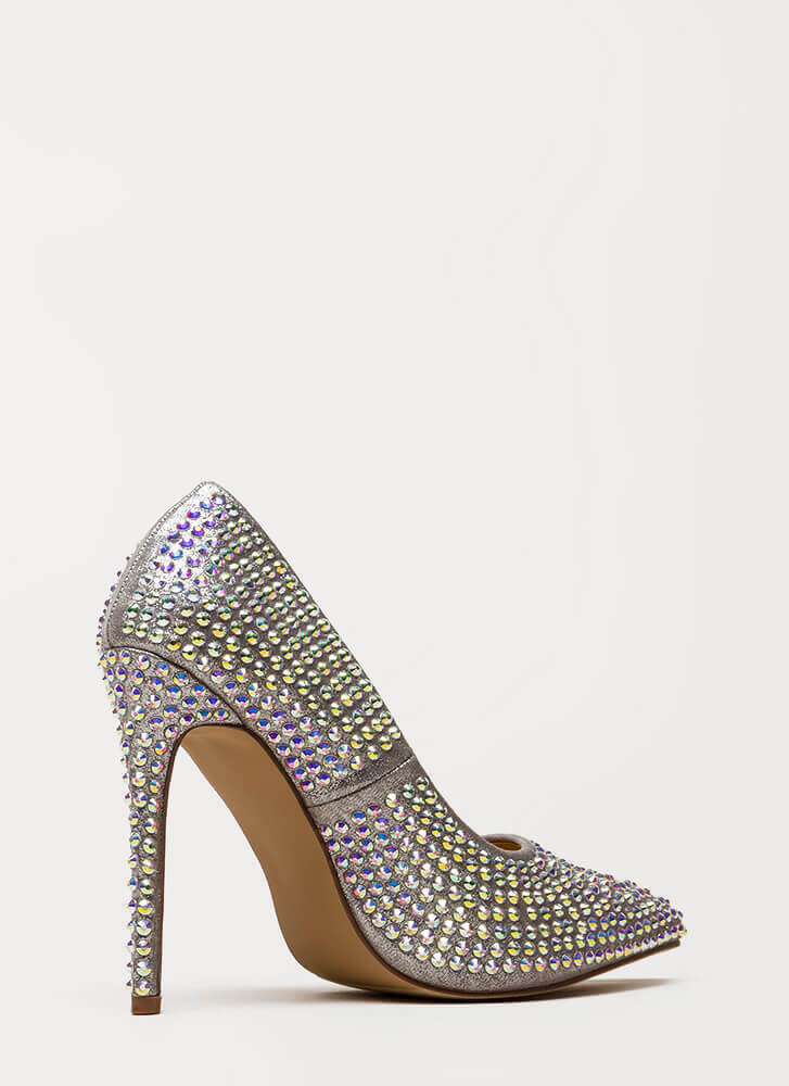 Super Sparkle Pointy Faux Gem Pumps SILVER