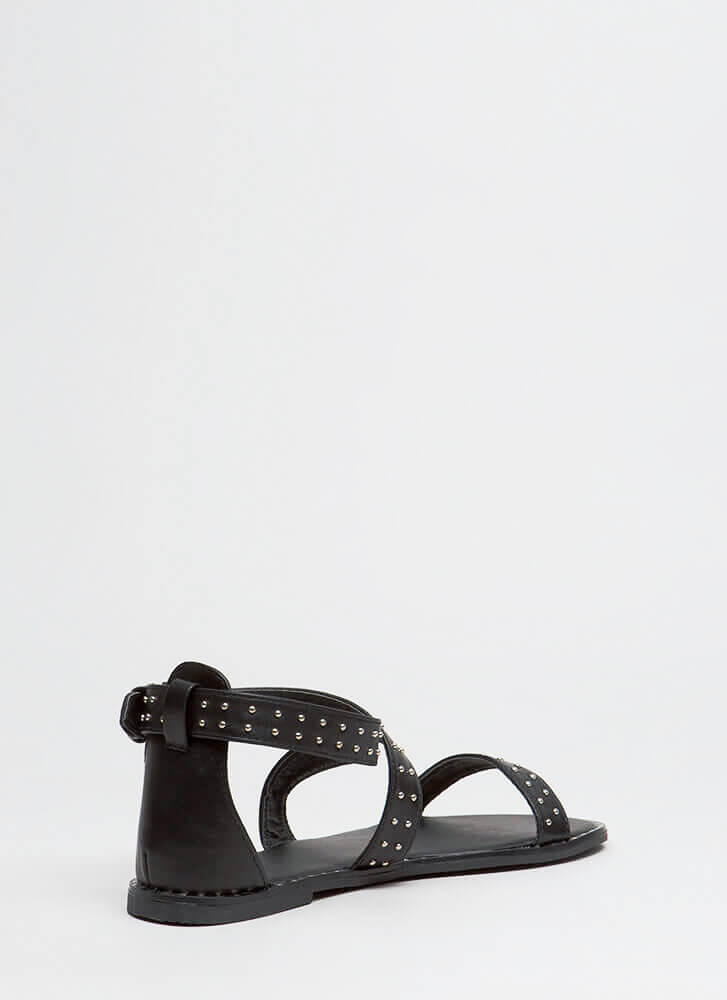 Have The Edge Strappy Studded Sandals BLACK
