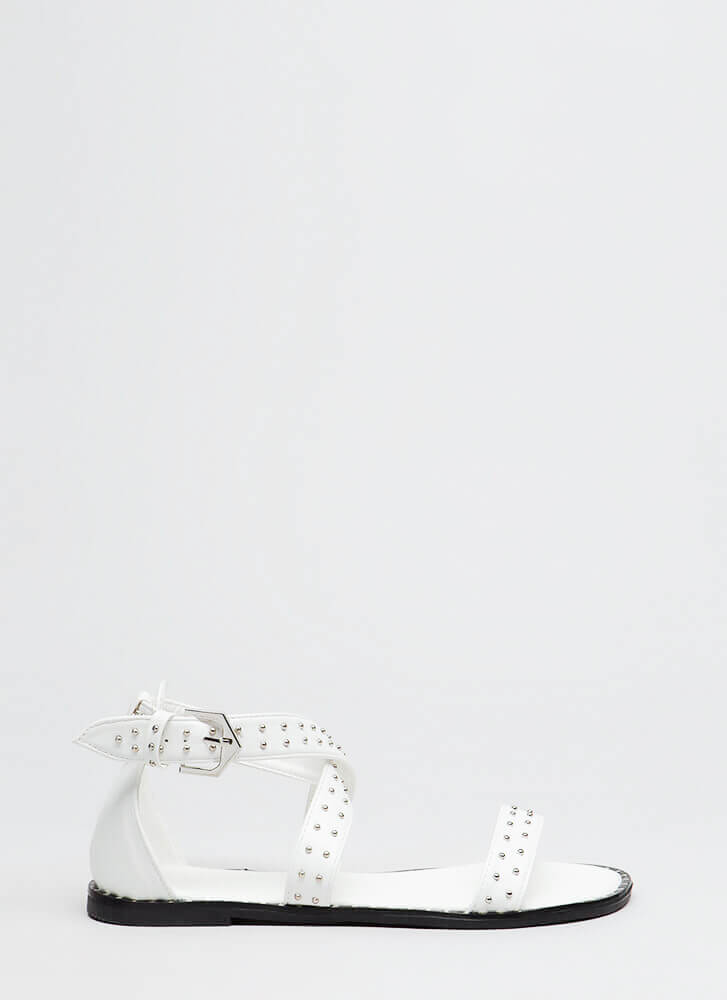 Have The Edge Strappy Studded Sandals WHITE