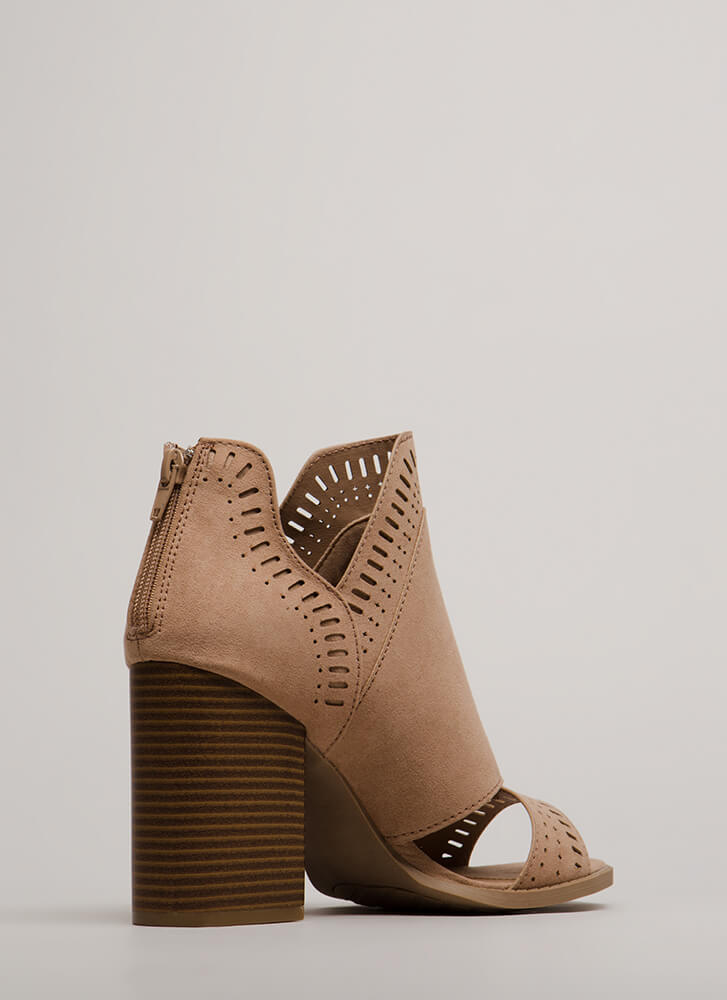 Cut-Out For These Block Heel Booties WARMTAUPE