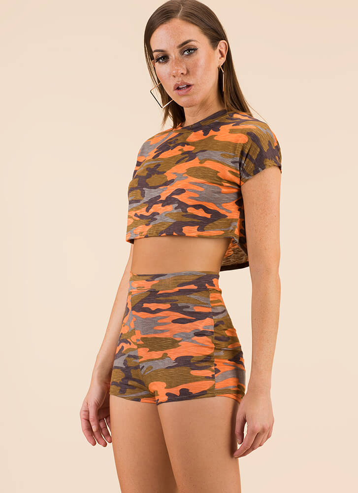 New Recruit Camo Top And Shorts Set CORAL