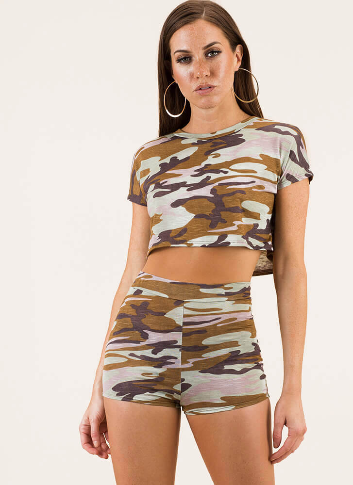 New Recruit Camo Top And Shorts Set SAGE