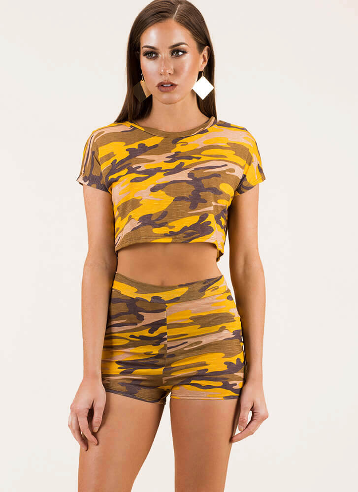New Recruit Camo Top And Shorts Set YELLOW